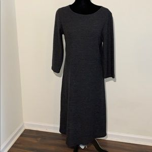 Eileen Fisher 100% wool charcoal dress HOLE
